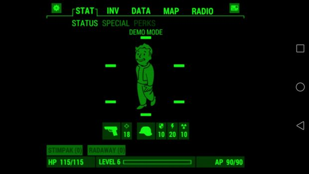 pip-boy fallout application ios android screen 1