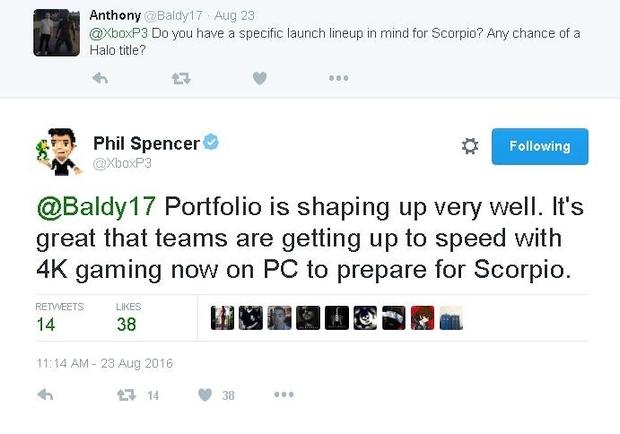 xbox one scorpio lineup tweet